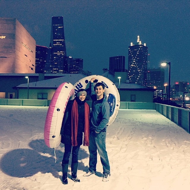 Sledding in the parking garage of my downtown apartment