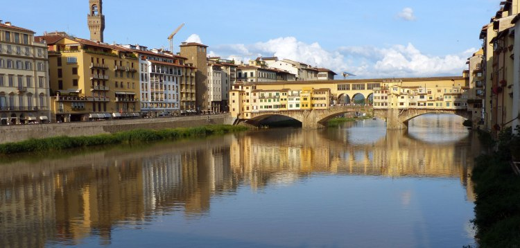 The view of Ponte Vecchio on the Arno River