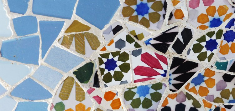 A tile mosaic by Antoni Gaudí at Park Güell in Barcelona