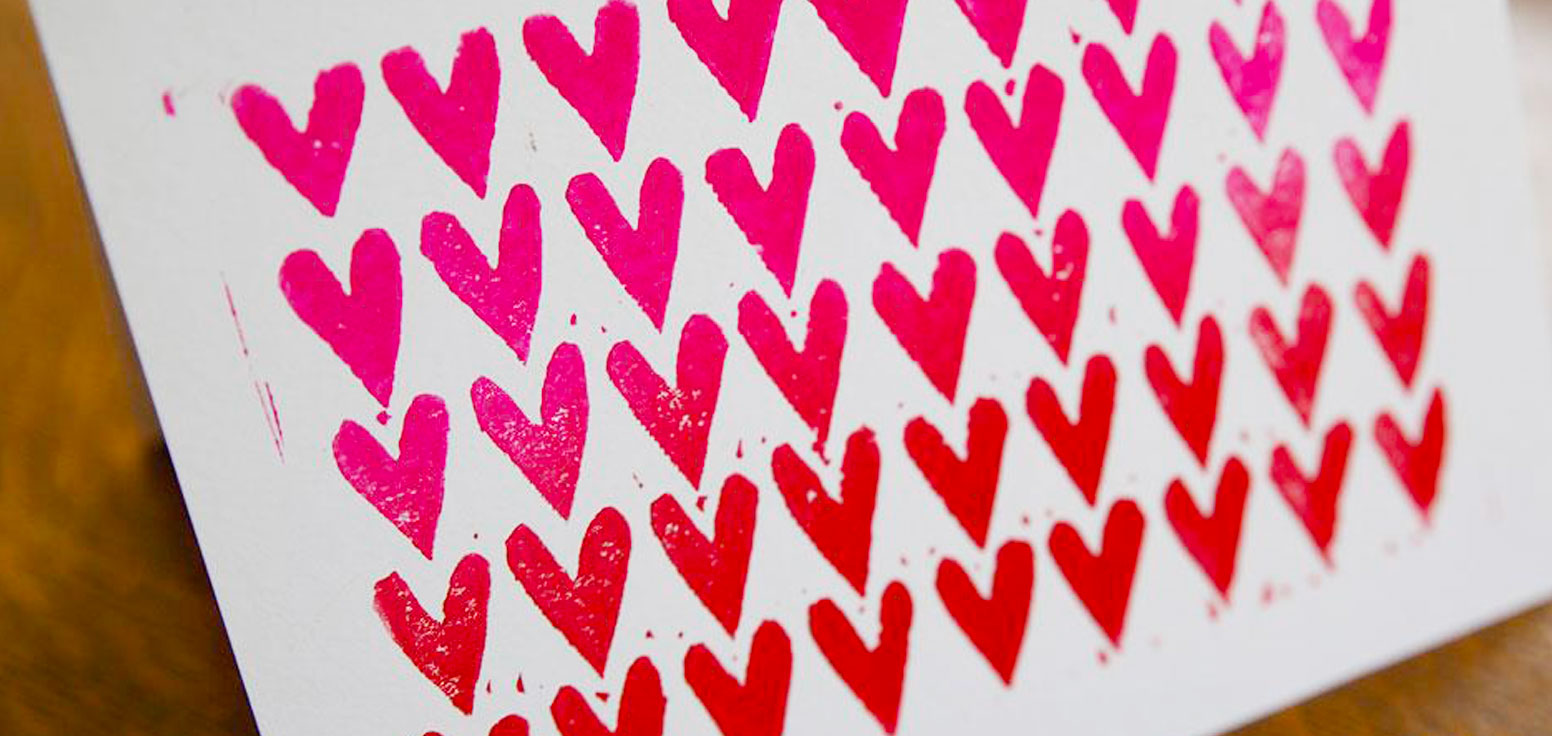 Valentine Ombré Hearts Block Printed Greeting Card