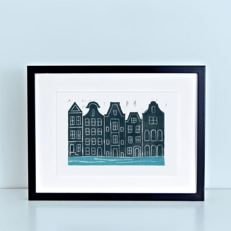 Amsterdam Canals Block Print