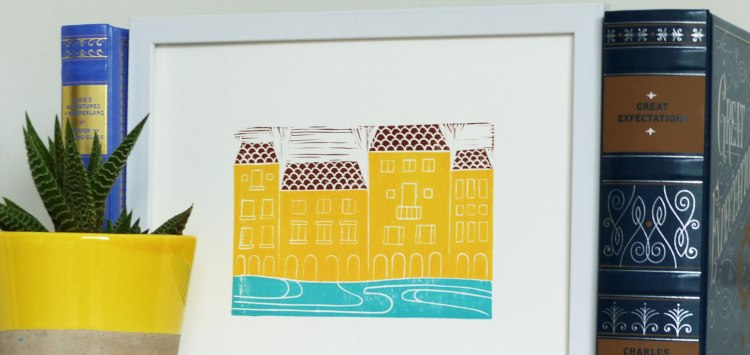 Florence, Italy block print featuring the Arno River
