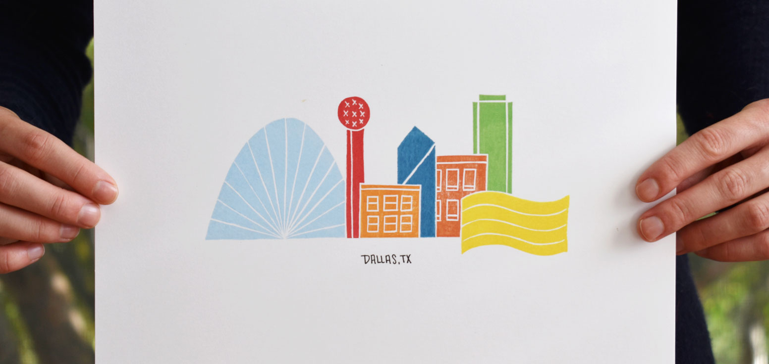 Dallas Skyline Block Print