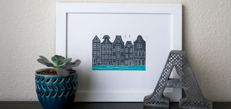 A little display I created to show off the Amsterdam block print