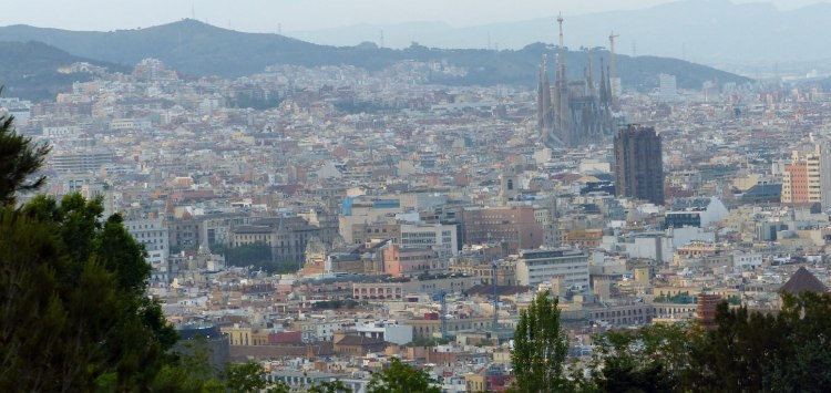 The view of Sagrada Familia from los bunkers in Spain