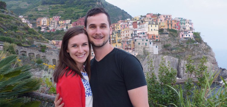 The town of Manarola in the background