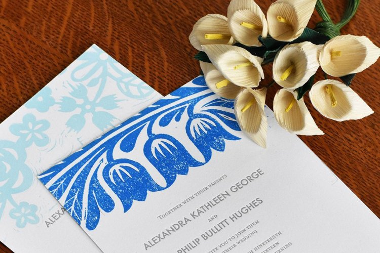 Block-printed wedding invitations by Wandering Paper Co.