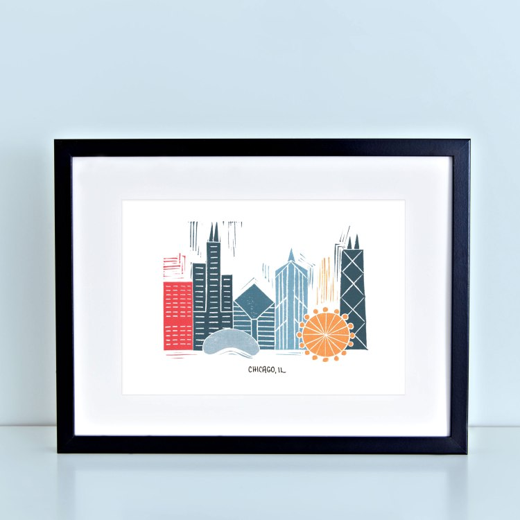 Chicago Skyline Linocut Block Print