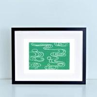 Japanese River Block Print