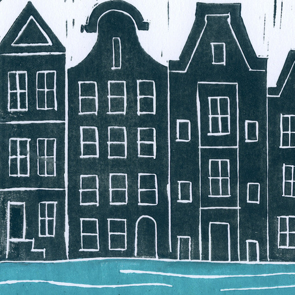 Amsterdam Canals Block Print Close Up
