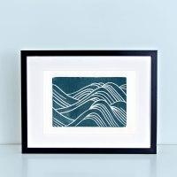 Japanese Waves Block Print
