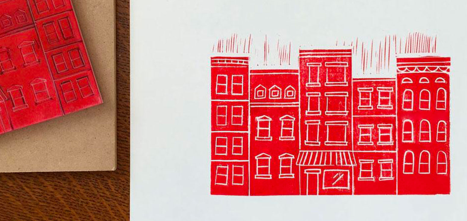 Brooklyn Brownstones Block Print