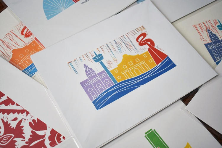 A collection of Wandering Paper Co. block prints