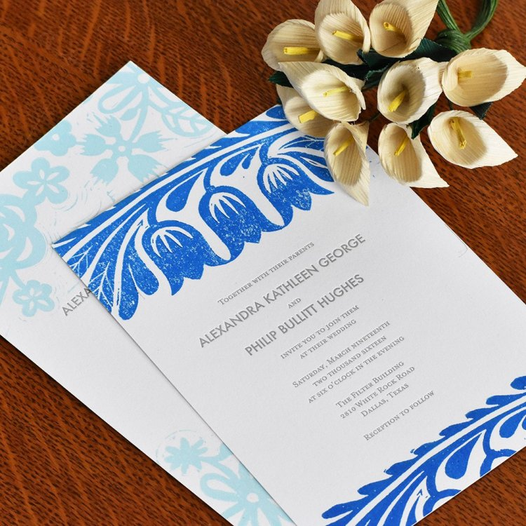 Block printed weddig invitations