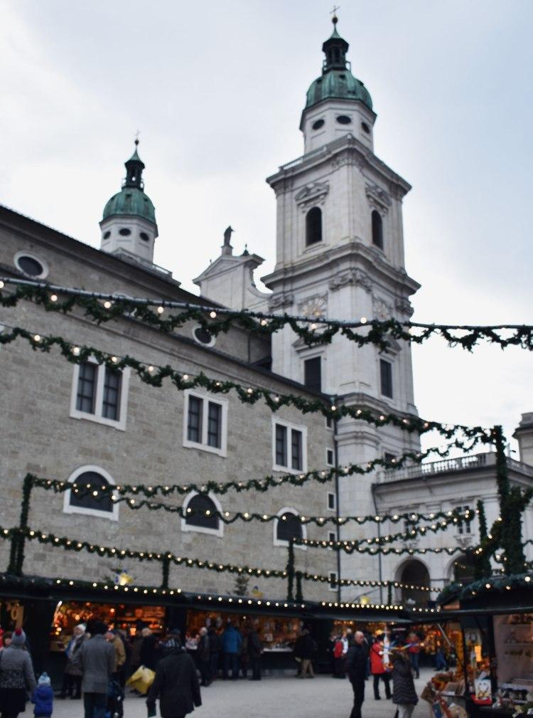 The Christkindlmarkt outside Salzburg Cathedral