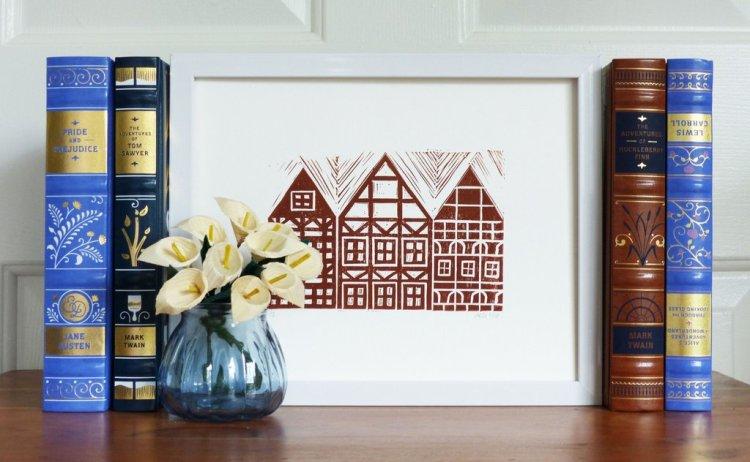 German Houses Block Print