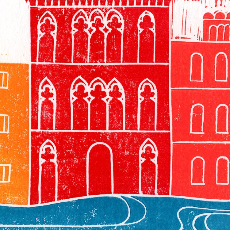 Venice Linocut Block Print Red Close Up